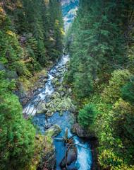 Waterfall Wodogrzmoty Mickiewicza in the Tatras in autumn