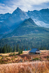 Fototapeta Wonderful sunset in the mountain valley, Tatras in Poland