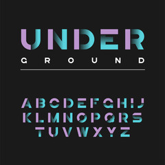 Underground decorative bold typeface. Vector alphabet, letters, font, typography.
