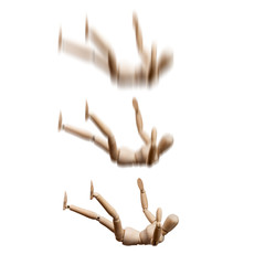 Wooden Mannequin fall down on white background