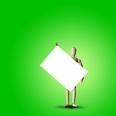 Wooden Mannequin holds white board or empty revolution banner. Concept for advertisement or public protests