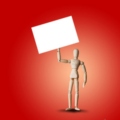 Wooden Mannequin holds empty banner or white board for your design. Concept for advertisement or public protest
