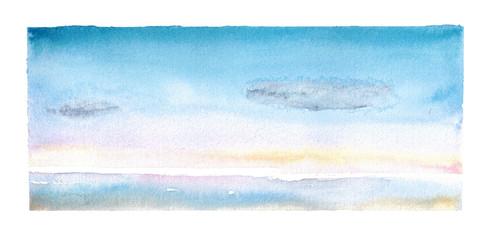 Watercolor hand drawn illustration of seascape