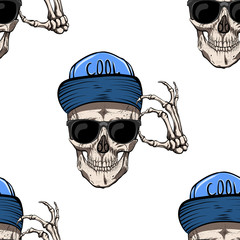 Skull in the cap. Sunglasses. He welcomes everyone. Seamless pattern.