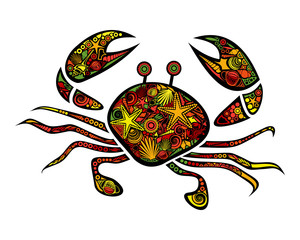 Bright ornamental crab isolated on white background. Vector illustration for baby template design