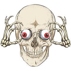 Skull. Skeletal hands hold eyeballs. Fearfully.