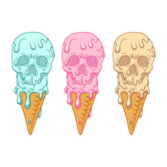 Ice cream looks like skull. Three colors.