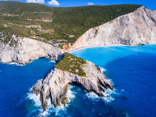 Aerial view of Lefkada Porto Katsiki Beach the most well known brach on the island of Lefkada, Greece