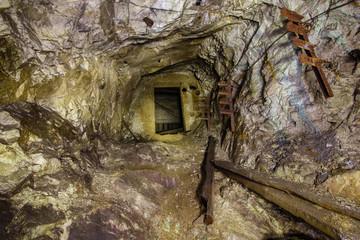 Underground mine shaft copper ore tunnel gallery