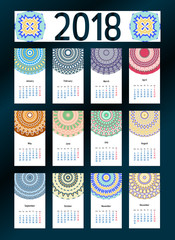 2018 year calendar template. Mandala, arabic, muslim, eastern, oriental, ethnic decoration. Vector monthly template. Week starts from monday