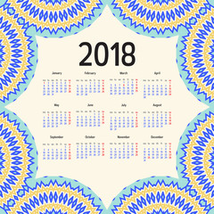 2018 year calendar template. Mandala, arabic, muslim, islamic, eastern, oriental, ethnic frame. Vector monthly template. Week starts from monday