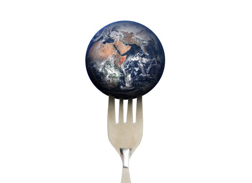 Blue planet earth with fork, isolated on white background, environmental and food concept. Elements of this image are furnished by NASA