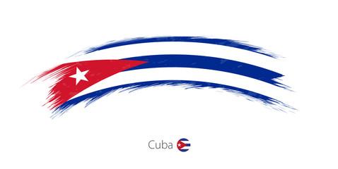 Flag of Cuba in rounded grunge brush stroke.