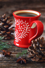 Winter drink: cup of coffee