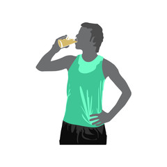 happy young man drinking water after workout outdoors. Fit male runner resting after training session