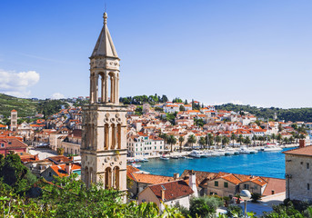 View of the Hvar town, Hvar island, Dalmatia, Croatia Wall mural