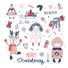 Set of hand drawn Christmas design elements with cute cartoon princess, penguin, sledge with gifts, deer, little girl, typography Merry Christmas, Winter. Isolated objects on white background. Vector.