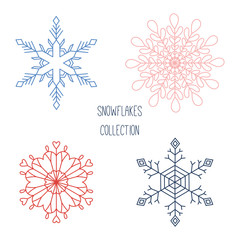 Collection of hand drawn vector snowflakes. Isolated objects on white background. Design concept for children, winter.
