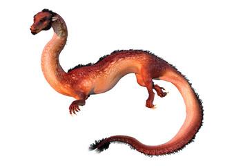 3D Rendering Eastern Dragon on White