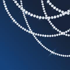 Diamond sparkling beads. Shining precious gems chain. Round shape. Modern jewelery background
