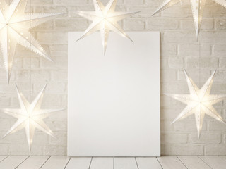 Mock up poster with stars Christmas decoration, 3d illustration, 3d render