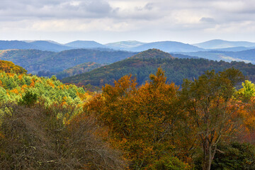Scenic autumn view from Doughton Park Recreation Area, located along the Blue Ridge Parkway in northwest North Carolina
