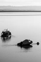 boats at mooring in early morning