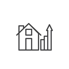 House and real estate business graph line icon, outline vector sign, linear style pictogram isolated on white. Home with growth chart symbol, logo illustration. Editable stroke