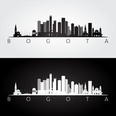 Bogota skyline and landmarks silhouette, black and white design, vector illustration.
