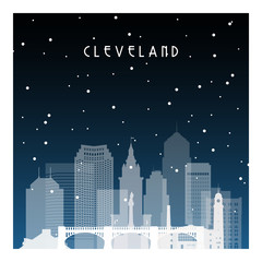 Winter night in Cleveland. Night city in flat style for banner, poster, illustration, game, background.