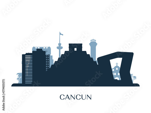 Cancun Skyline Monochrome Silhouette Vector Illustration Stock