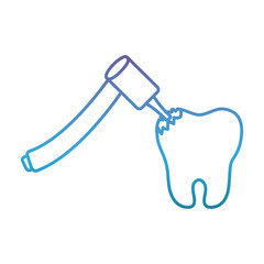 dental tool and tooth icon over white background vector illustration