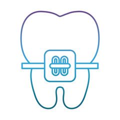 tooth with bracket icon over white background vector illustration