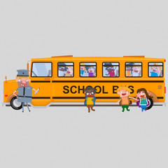 School bus waiting for students. Isolate. Easy background remove. Easy combine! For custom illustration contact me.