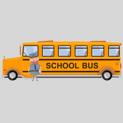 Driver in front of school bus. Isolate. Easy background remove. Easy combine! For custom illustration contact me.