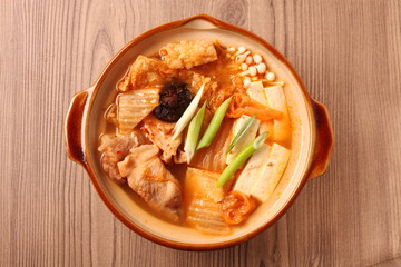 Kimchi hot pot on the table