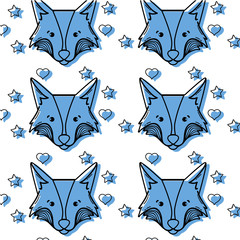 color cute fox head animal with stars ans hearts background