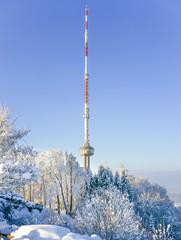 Fernsehturm in Zürich auf dem Ütliberg im Winter
