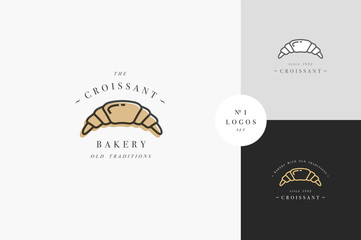 Croissant bakery emblem or logo with typography. Bakery shop or pastry shop.