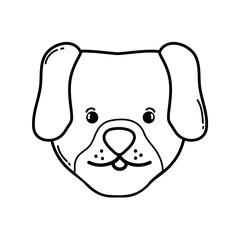 line cute dog head pet animal