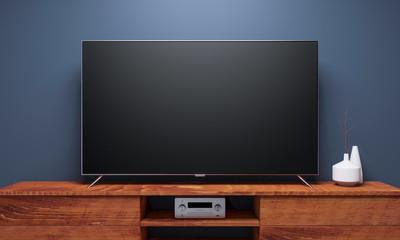 Black Smart Tv Mockup on wooden console. 3d rendering