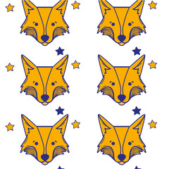cute fox head animal with stars ans hearts background