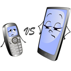 Old push-button phone versus a modern smart phone. Illustration of two cell phones.