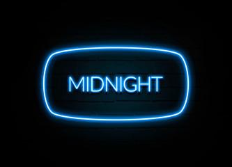 Midnight  - colorful Neon Sign on brickwall Fotoväggar
