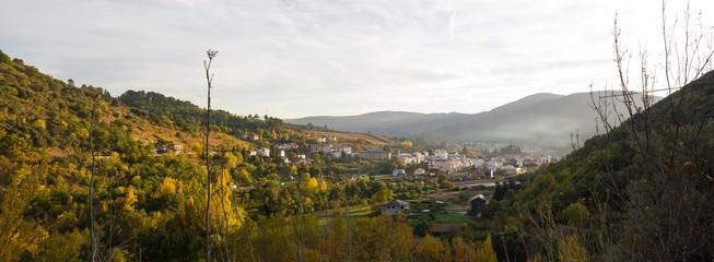 Vista general de Villafranca del Bierzo en el Camino de Santiago. León. España