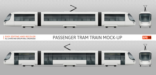 White train vector mock-up for advertising, corporate identity. Isolated tramway template on white. Vehicle branding mockup. All layers and groups well organized for easy editing and recolor.