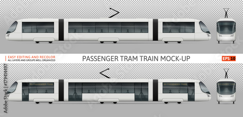 White train vector mock-up for advertising, corporate