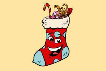 Christmas gift sock cute smiley face character