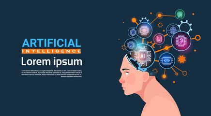 Human Head With Cyber Brain Cog Wheel And Gears Concept Of Artificial Intelligence Banner With Copy Space Flat Vector Illustration