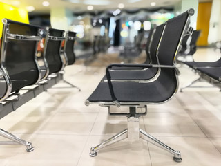Customer chairs waiting for the bank employees in Thailand, queue for each person